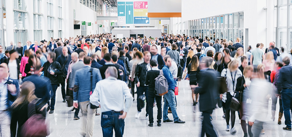 Crowd of people at a tradeshow