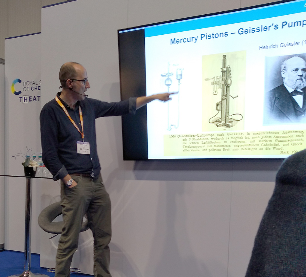 Professor Sella giving a presentation about the history of mercury