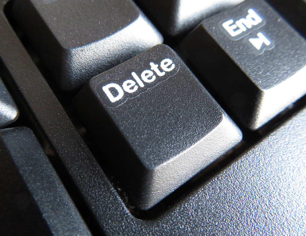 Close-up of delete key on a keyboard