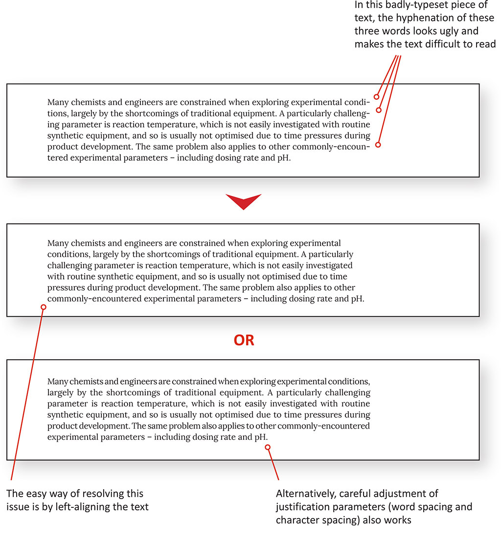 How to improve text layout for white paper using column alignment and hyphenation
