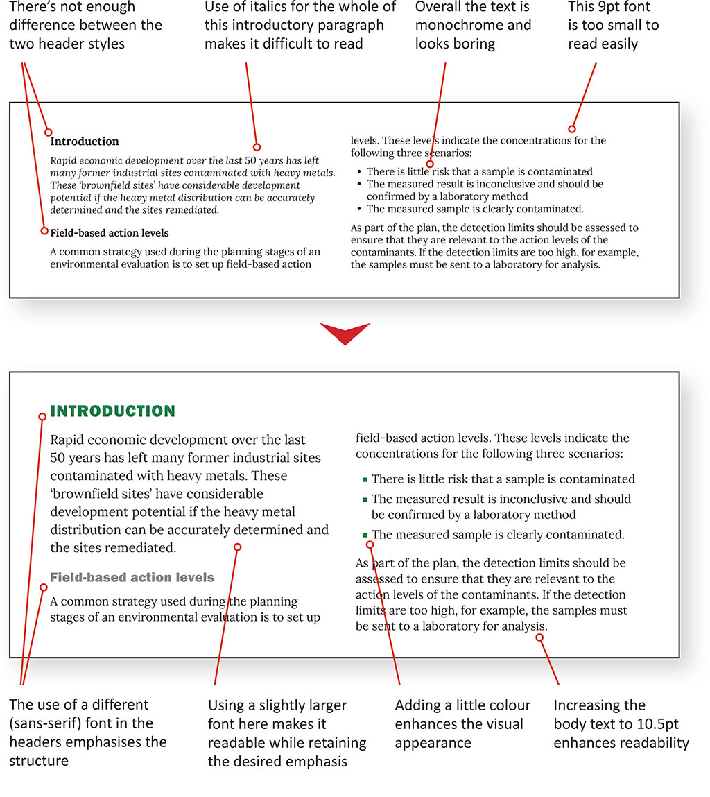 How to improve text layout for white paper using typography
